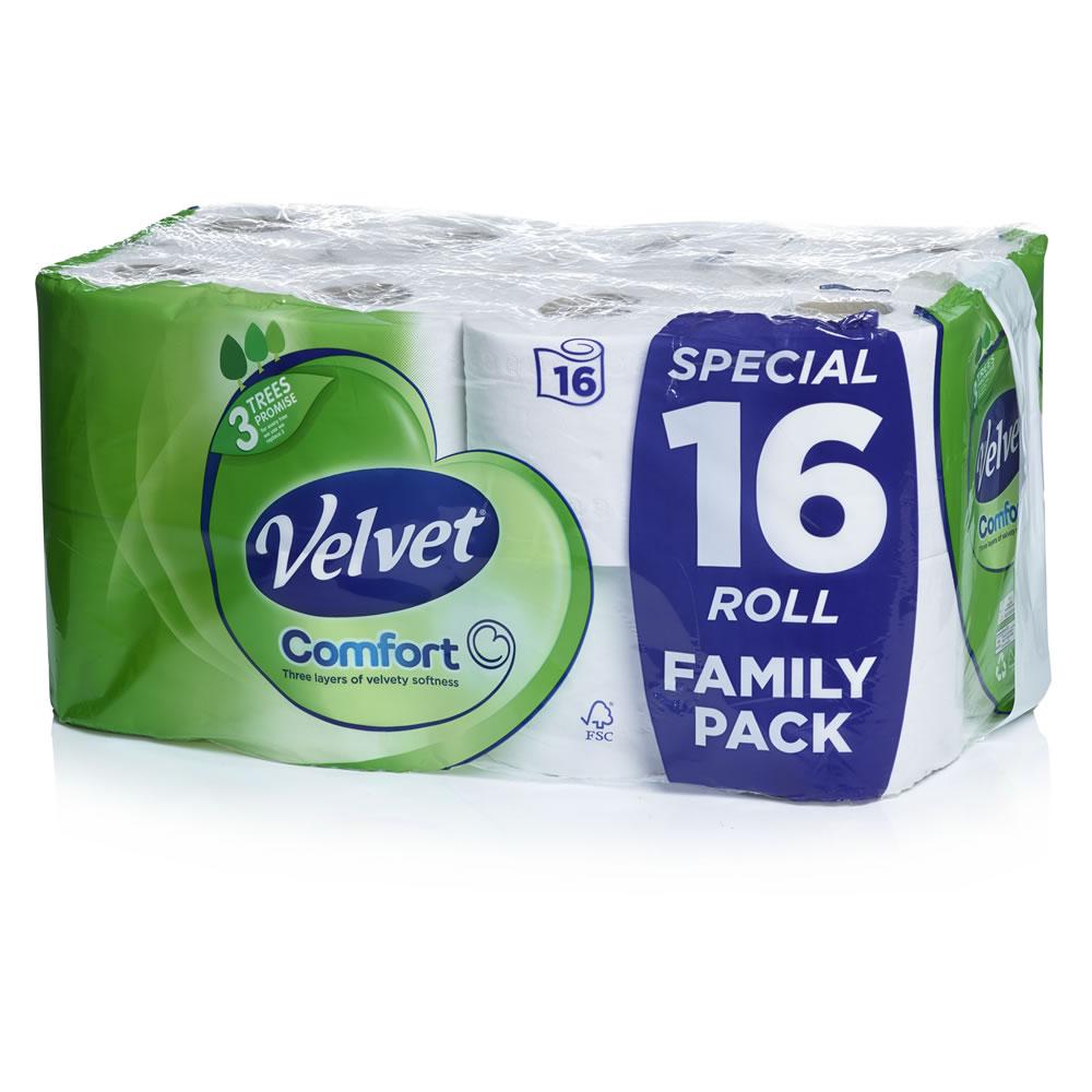Velvet Comfort Toilet Tissue White 16 Rolls 200 Sheets 3 Ply £5 @ Wilko
