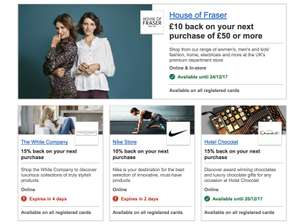 HSBC VISA Offers - £10 off £50 at House Of Fraser and other offers