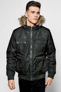 SHORT PARKA WITH FAUX FUR LINED HOOD ONLY  £12.50 @ Bohooman