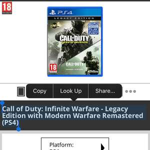 Call of Duty: Infinite Warfare - Legacy Edition with Modern Warfare Remastered (PS4) £7.99 @ Game