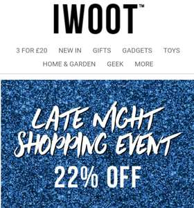 Flash Sale 22% off @ IWOOT until midnight