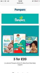 5 pampers for £20 @ Boots
