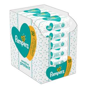 Pampers Sensitive Protect Baby Wipes, 18 Packs (1008 Wipes) - £10.50 @ Amazon (Prime Exclusive)