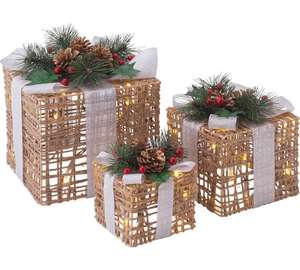 Set of 3 Christmas Light Up Wicker Boxes  Save £14.00 Was £29.99 COLLECTION