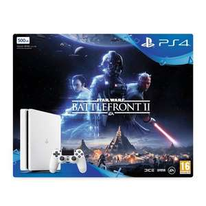 Ps4 white 500gb slim glacier white console star wars battlefront II bundle with free black DS4 controller and 3 extra games at shopto - £224.86