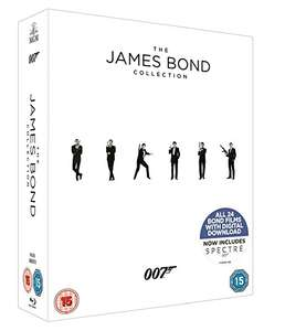 The James Bond Collection 1-24 [Blu-ray] £34.99 - Includes UV code for digital download - DVD Boxset £24.99 @ Amazon