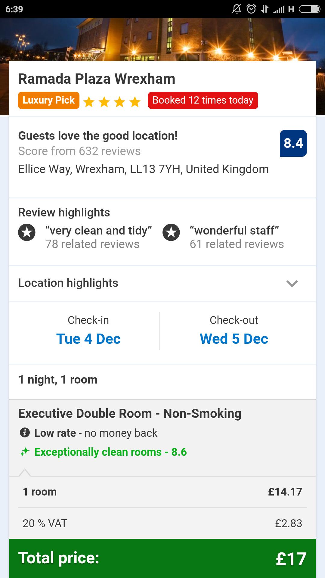 Ramada Wrexham Rooms for December 2018 £18 a night @ www.booking.com