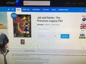Jak and Daxter: The Precursor PS4 - £2.19 @ CDKeys