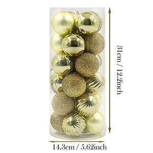 24x Essential Gold Shatterproof Christmas Tree Baubles £1.99 (Prime) £5.98 (Non Prime) @ Sold by Valery Madelyn UK and Fulfilled by Amazon.