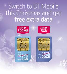 BT Mobile 20GB 4g data, ult mins and texts, ult BT wifi and BT Sport. If you click through TCB then copy this link through then possible £70 cashback making it an effective £9.17 if it pays out!