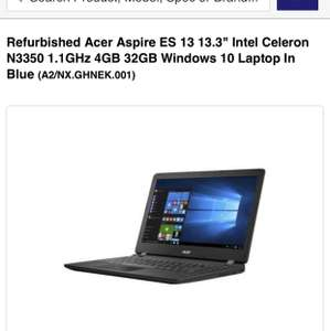 Refurb Acer Intel Celeron Windows 10 Laptop - £99.97 @ Laptops Direct