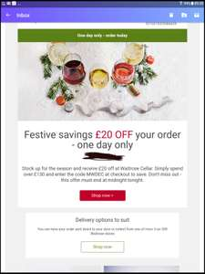 Today only 20% off Waitrose Cellar orders over £130