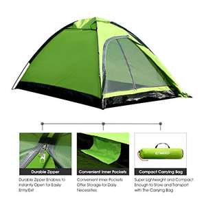 2 person camping tent with carrying bag - £9.99 (Prime) £14.74 (Non Prime) @ Sold by ENKEEO UK and Fulfilled by Amazon.