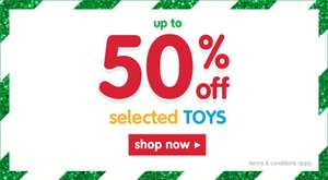 50% off Selected Toys at the Early Learning Centre and 20 % off full priced toys using code