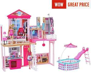 Complete Barbie Home Set with 3 Dolls and Pool now £49.99 C+C @ Argos