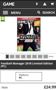 Football Manager 2018 - £24.99 @ GAME