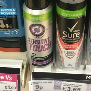 Superdrug compressed sensitive deodrant 9p instore