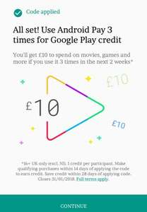 Account specific - Get £10 to spend on Google Play