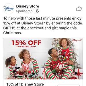 Extra 15% off at the Disney Store online with code plus 6% cashback through Quidco