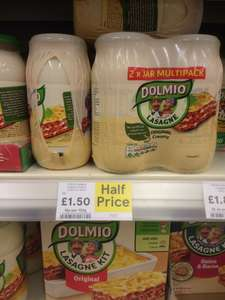 Dolmio bolognese/lasagne/white sauce  2 X 500G Tesco £1.50 online and instore