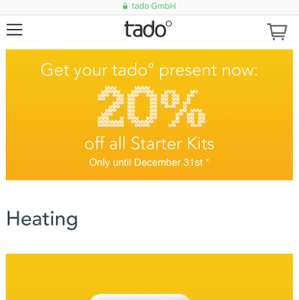 20% off starter kits @ Tado
