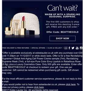 Estée Lauder Christmas offers - 3 piece giftset free with £30 spend