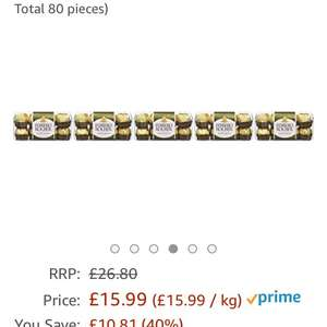 80 pieces Ferrero Rocher only £15.99 Prime / £20.74 Non Prime @ Amazon