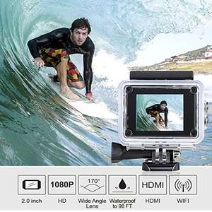 ODRVM 1080P Underwater Action Camera with Wi-Fi £32.99 @ Sold by ODRVM Fulfilled by Amazon