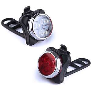 Kungix Bike Lights Set Headlight Taillight Combinations Rechargeable Bicycle Cycling Front and Rear Light with Waterproof 2 USB Cables 4 Light Modes - Sold by Holabuyer / FBA - £10.66 Prime / £14.65 non-Prime