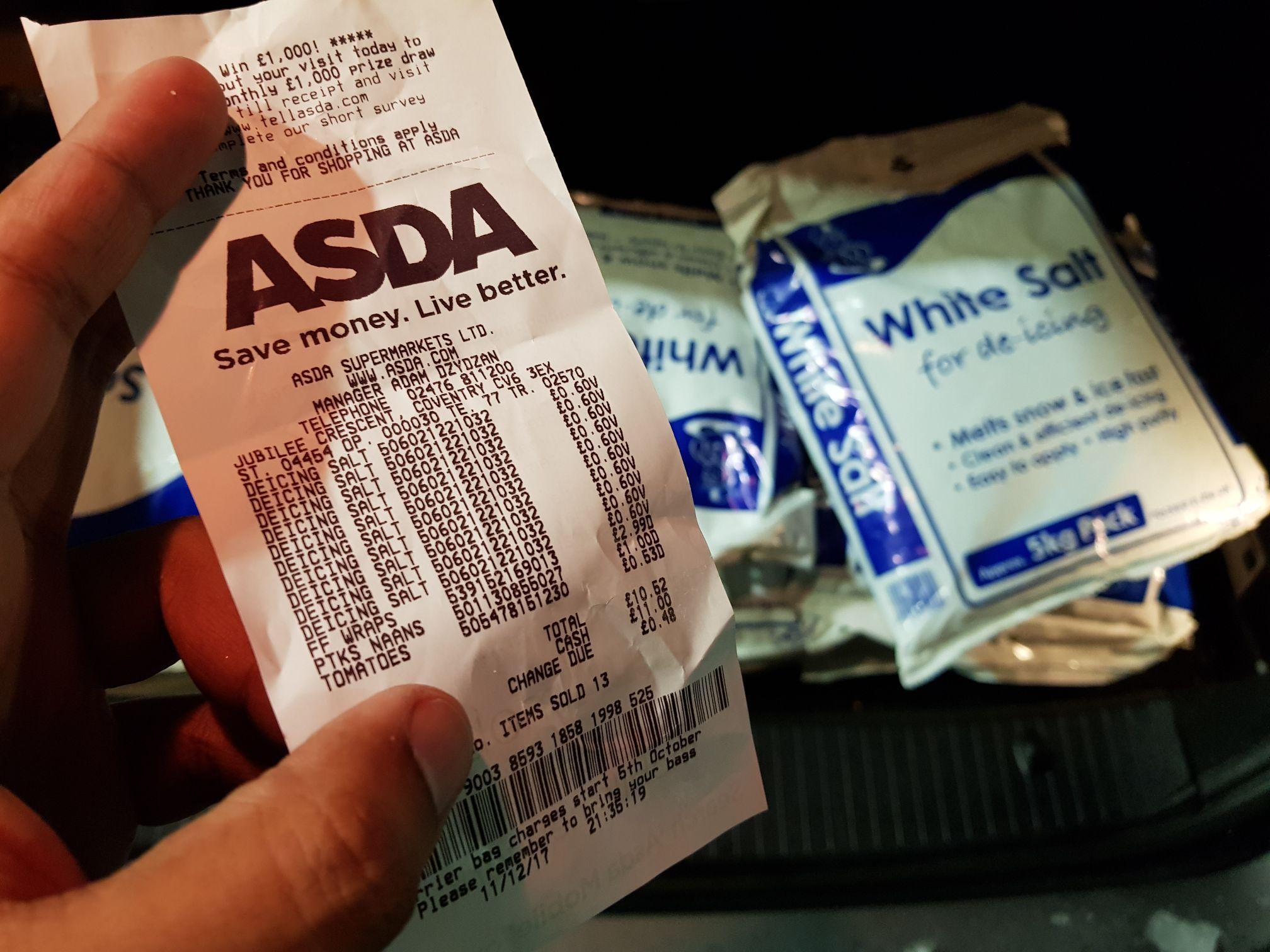 Deicer white salt 60p per pack 5kg instore @ ASDA (was £5)