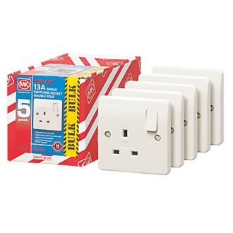 MK Logic Plus 13A 1-Gang DP Switched Plug Socket White Pack of 5 @ Screwfix - £1.50