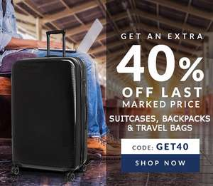 Extra 40% OFF on suitcases, backpacks, & travel bags with code GET40