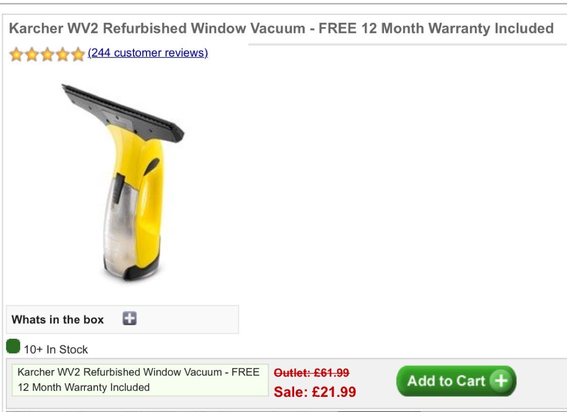 Karcher WV2 Refurbished Window Vacuum - FREE 12 Month Warranty Included £21.99 - Karcher Outlet