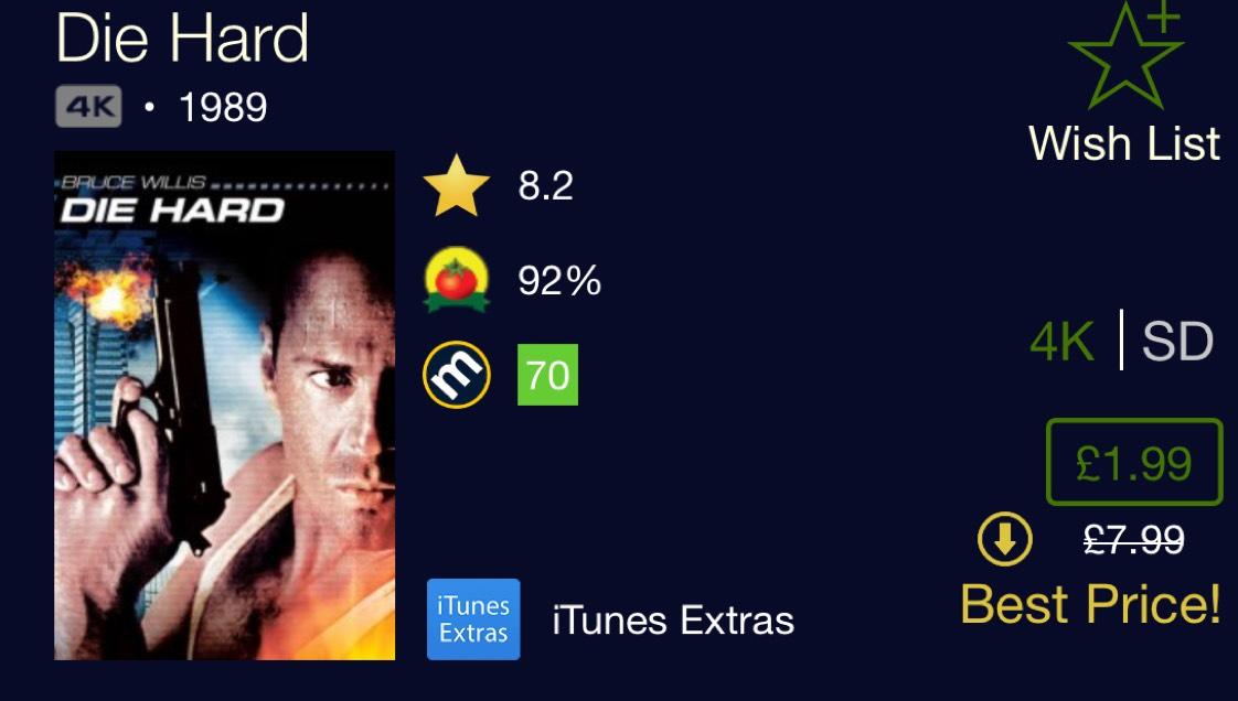 Die Hard in 4K on iTunes - £1.99