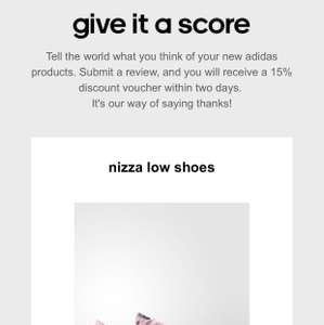15% off at Adidas when you review anything that you have brought from them