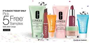 ITS BACK TODAY ONLY! 5 FREE DELUXE SAMPLES AT CLINIQUE WITH ANY PURCHASE + Free Delivery (6 ITEMS FROM AS LITTLE AS £7.75 DELIVERED)
