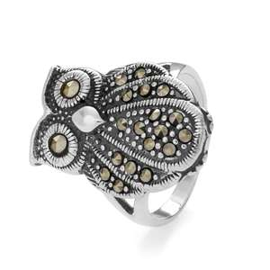 Silver & Marcasite Vintage Owl Ring £14.99 delivered with code at John Greed