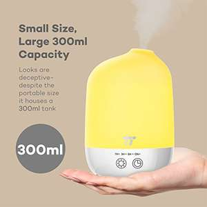 TaoTronics Aroma Diffuser 300ml Capacity (Silicone Grooving, Touch Controls, Timer Settings, PCB Protection, Long Lifespan, PP Build, 7 Colored LEDs) £13.49 Delivered with code Sold by Sunvalleytek-UK and Fulfilled by Amazon