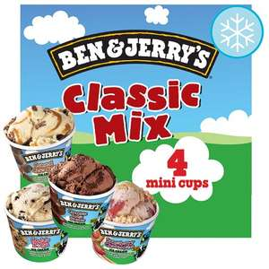 Tesco Special offer on Ben and Jerry's Classic Mix Ice cream tubs 4x100ml - £2.50
