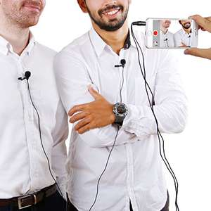 TONOR Lavalier Lapel Microphone Dual Headed Recording Clip On Mic Mini Microphone For IPhone IPad and Android Smartphone £8.51 prime  £12.50 non prime Sold by hiwatch and Fulfilled by Amazon