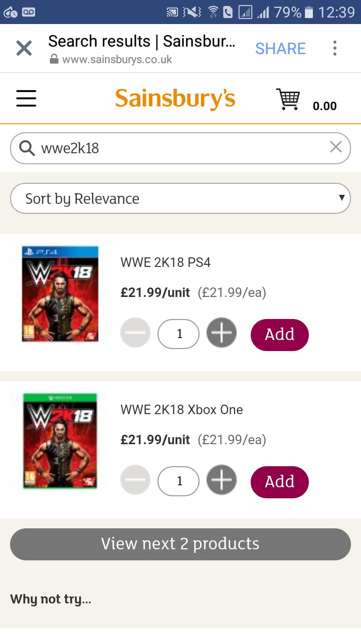 WWE 2k18 (PS4/XO) - Sainsburys £21.99