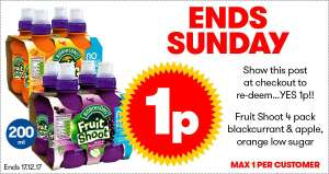 JTF Weekly 1p Deal- 4 pack Robinsons Fruit Shoot
