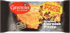 Ginsters Extra Large Cornish Pasty (284g) Now buy one for £2.30 or from Wednesday 13th December until Tuesday 9th January it's 2 packs for £2.00 @ Tesco's