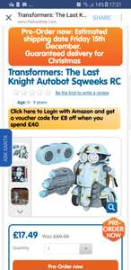 Transformer Autobot Sqweeks £17.49 @ The Toy Shop