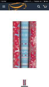 3 x 5M Rolls Of Christmas Gift Wrapping Paper Red Blue Fairisle Reindeer WCSY