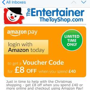 The entertainer £8 off £40 with Amazon pay back again