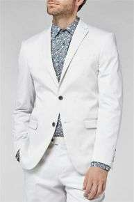 Slim Fit Chalk Cotton Suit: Jacket £24 @ Next