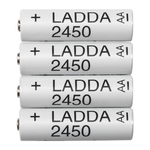 IKEA Rechargeable AA LADDA 2450mah battery 4-pack £5.50