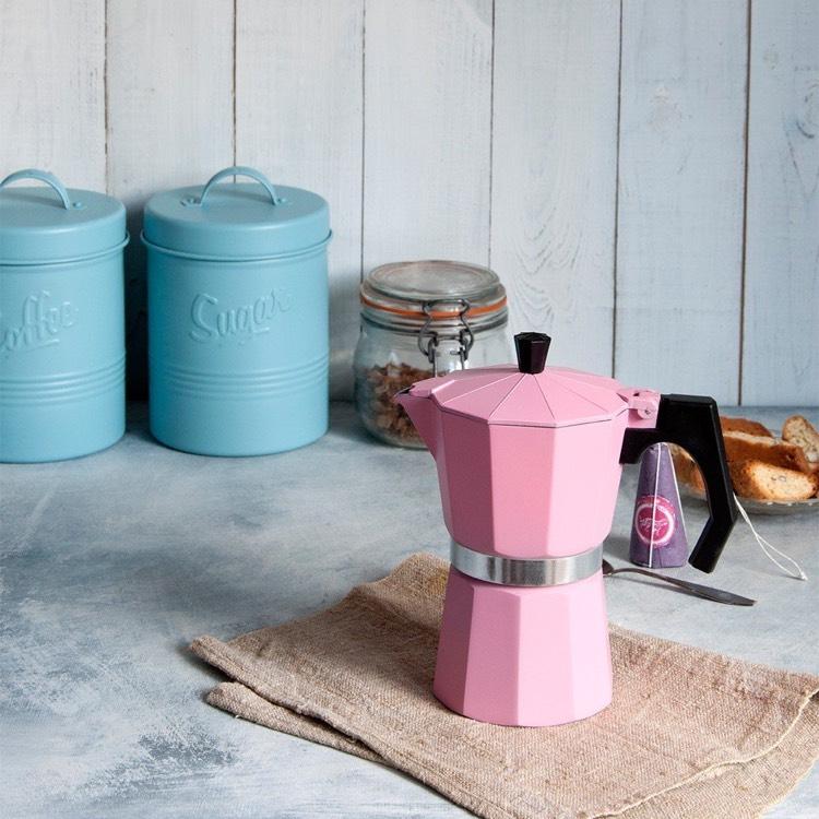 Pink espresso coffee pot, was £16.95, now £4.95 @ dotcomgiftshop