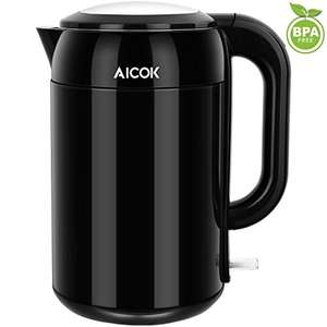 Aicok Electric Kettle 1.7L Cool Touch Water Kettle Double Wall Stainless Steel Tea Kettle 2200W Cordless Kettle with Auto Shut Off Function and Boil Dry Protection, Black - £17.33 ( Prime ) @ Amazon